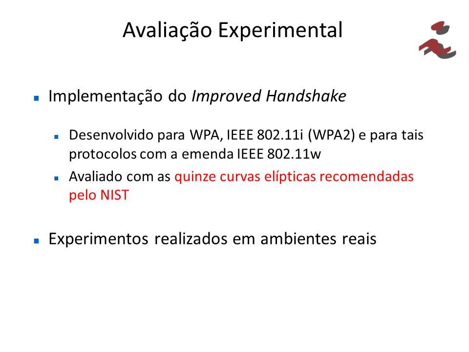 Avaliação Experimental Implementação do Improved Handshake Desenvolvido para WPA, IEEE 802.11i (WPA2) e para tais protocolos com a emenda IEEE 802.11w