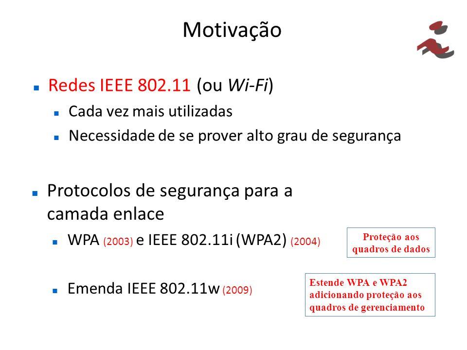 Motivação Redes IEEE 802.11 (ou Wi-Fi) Cada vez mais utilizadas Necessidade de se prover alto grau de segurança Protocolos de segurança para a camada