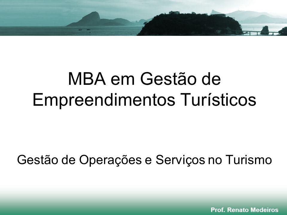 MBA em Gestão de Empreendimentos Turísticos Gestão de Operações e Serviços no Turismo Prof. Renato Medeiros