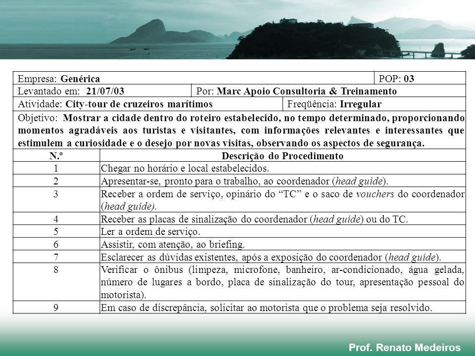Prof. Renato Medeiros Empresa: GenéricaPOP: 03 Levantado em: 21/07/03Por: Marc Apoio Consultoria & Treinamento Atividade: City-tour de cruzeiros marít