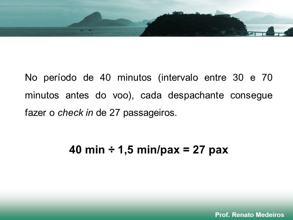 Prof. Renato Medeiros No período de 40 minutos (intervalo entre 30 e 70 minutos antes do voo), cada despachante consegue fazer o check in de 27 passag
