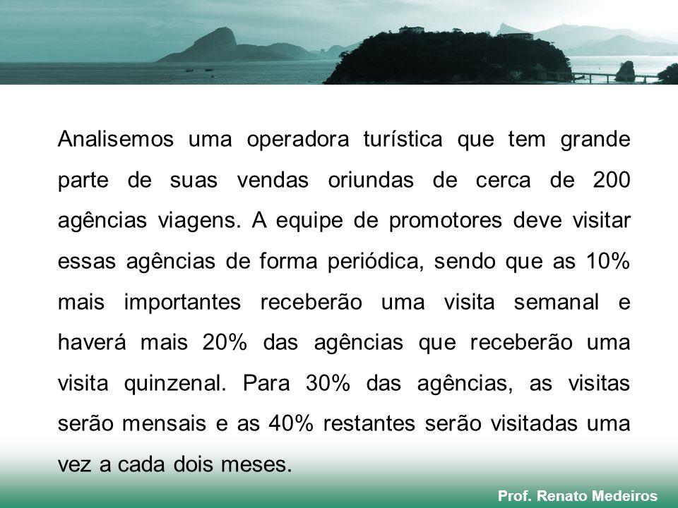 Prof. Renato Medeiros Analisemos uma operadora turística que tem grande parte de suas vendas oriundas de cerca de 200 agências viagens. A equipe de pr