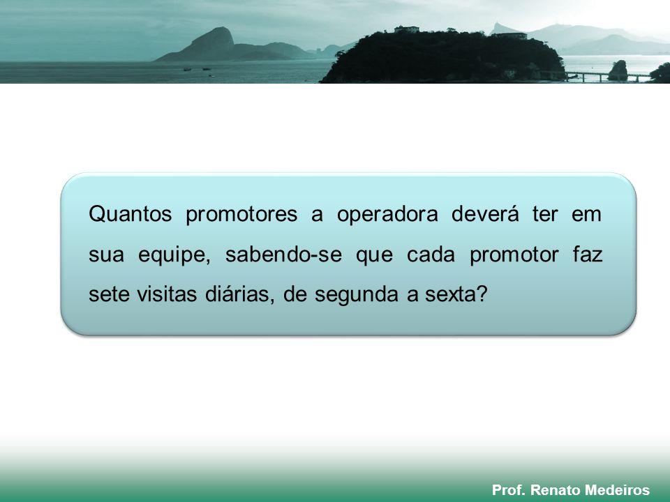 Prof. Renato Medeiros Quantos promotores a operadora deverá ter em sua equipe, sabendo-se que cada promotor faz sete visitas diárias, de segunda a sex