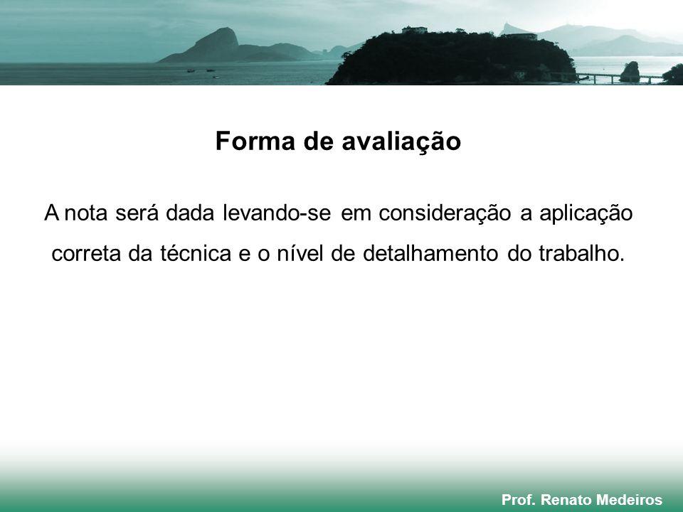 Prof. Renato Medeiros Forma de avaliação A nota será dada levando-se em consideração a aplicação correta da técnica e o nível de detalhamento do traba