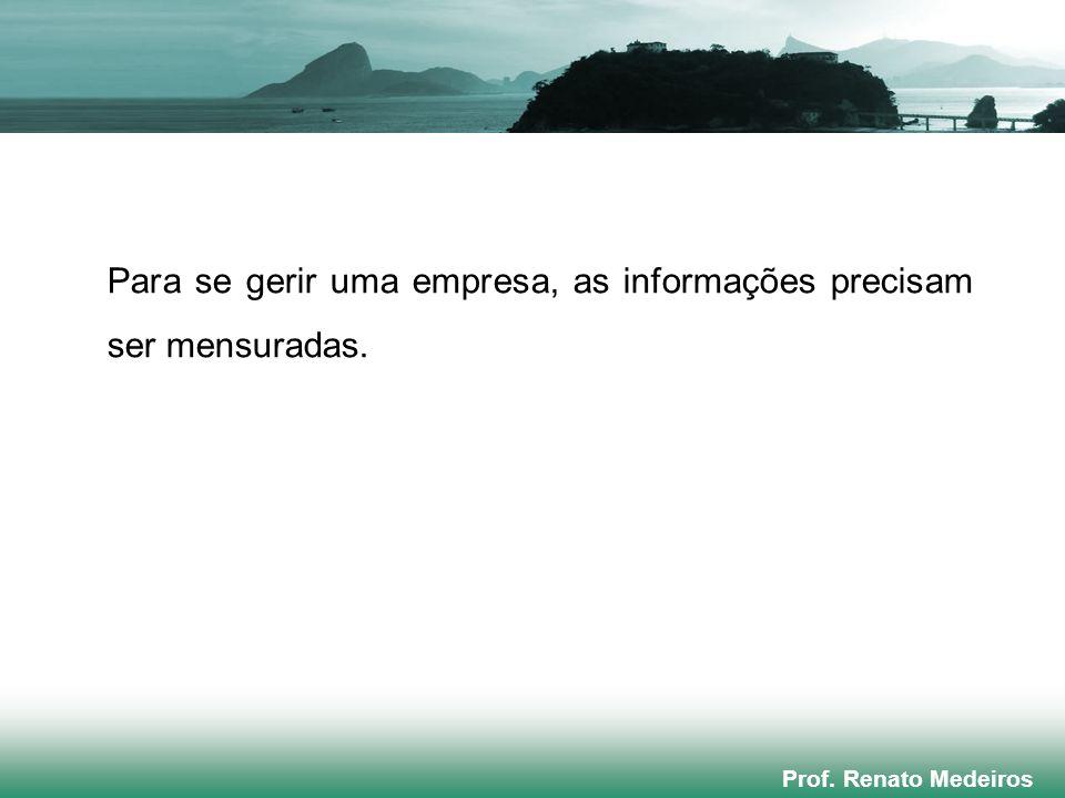 Prof. Renato Medeiros Para se gerir uma empresa, as informações precisam ser mensuradas.