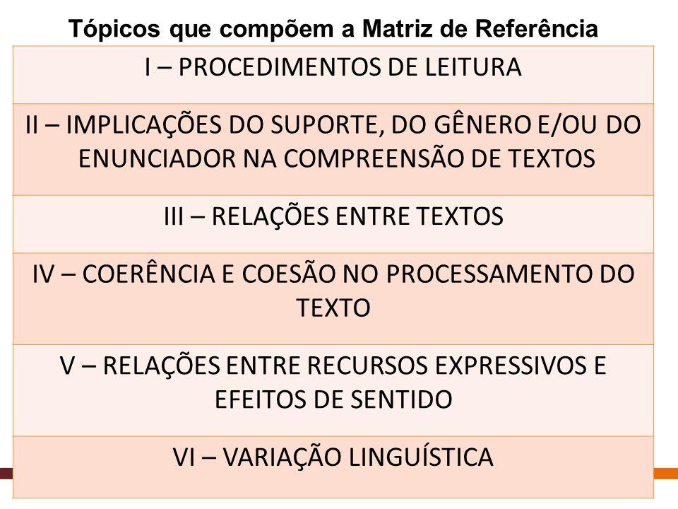 Tópicos que compõem a Matriz de Referência I – PROCEDIMENTOS DE LEITURA II – IMPLICAÇÕES DO SUPORTE, DO GÊNERO E/OU DO ENUNCIADOR NA COMPREENSÃO DE TE