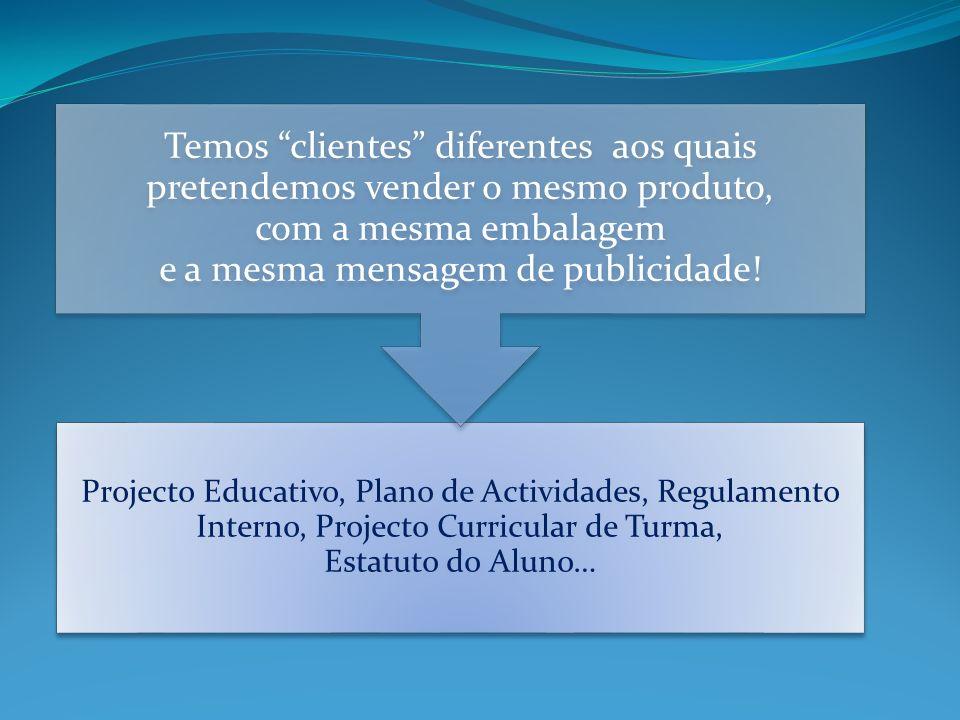 Projecto Educativo, Plano de Actividades, Regulamento Interno, Projecto Curricular de Turma, Estatuto do Aluno… Temos clientes diferentes aos quais pr