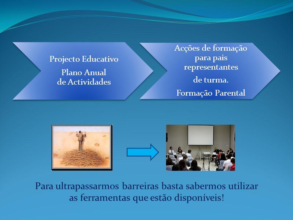 Projecto Educativo Plano Anual de Actividades Acções de formação para pais representantes de turma. Formação Parental Para ultrapassarmos barreiras ba