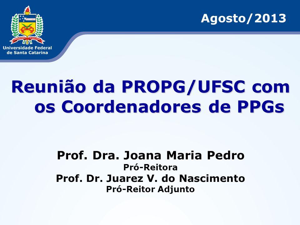 1.Recursos da UFSC para Mestrados Profissionais; 2.Auxílios à Participação em Eventos com Apresentação de Trabalhos; 3.Política de Publicação de Livros/Tradução de Textos; 4.Secretaria dos Programas de Pós-Graduação: horário de atendimento e férias; 5.Reuniões da CPG/UFSC: transmissão on line e acompanhamento de processos digitais (SPA); 6.PDI da Pós-Graduação: cronograma de trabalho; 7.Propostas para Professor Titular da Carreira (ANDIFES) e para Professor Titular Livre (MEC); 8.Assuntos Gerais Reunião com Coordenadores de PPGs – Agosto/2013