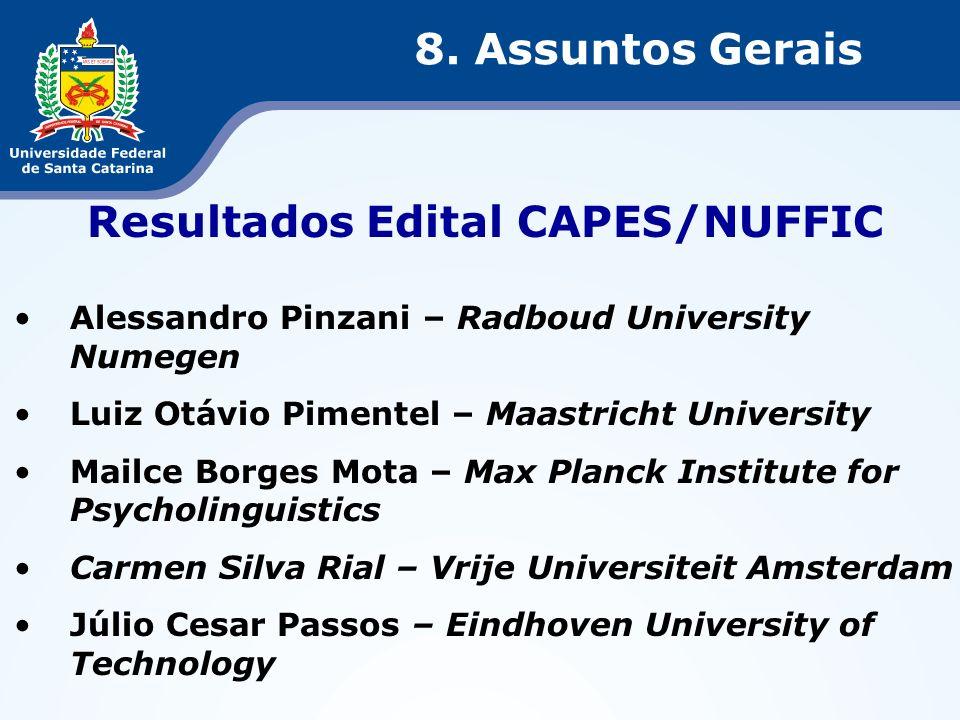 Resultados Edital CAPES/NUFFIC Alessandro Pinzani – Radboud University Numegen Luiz Otávio Pimentel – Maastricht University Mailce Borges Mota – Max P