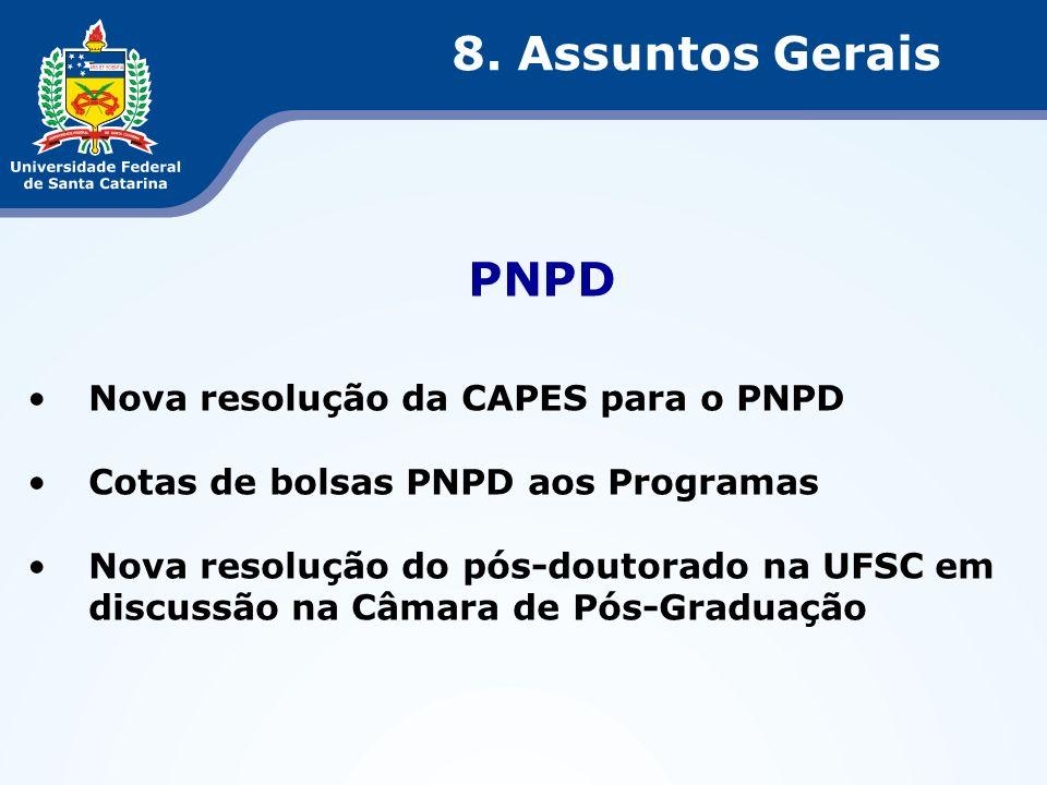PNPD Nova resolução da CAPES para o PNPD Cotas de bolsas PNPD aos Programas Nova resolução do pós-doutorado na UFSC em discussão na Câmara de Pós-Grad