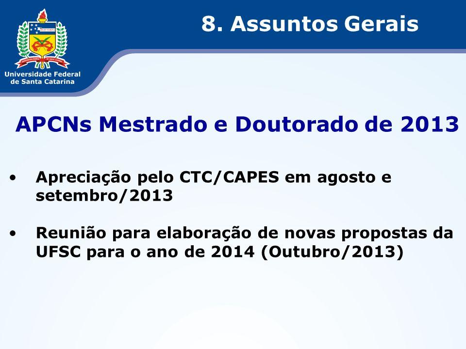 APCNs Mestrado e Doutorado de 2013 Apreciação pelo CTC/CAPES em agosto e setembro/2013 Reunião para elaboração de novas propostas da UFSC para o ano d