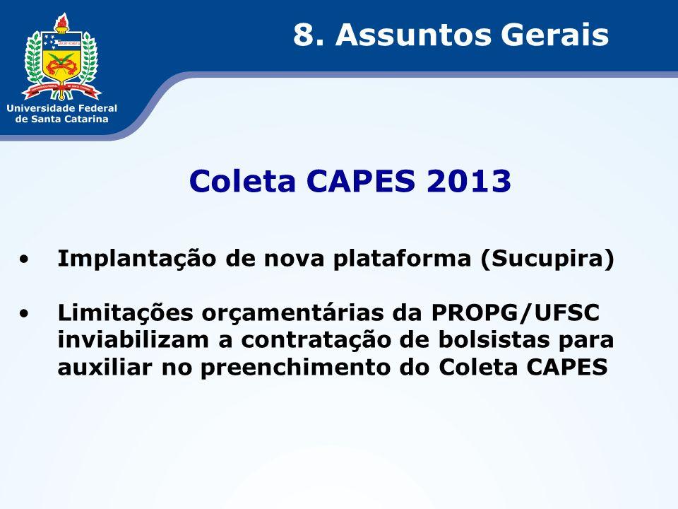 Coleta CAPES 2013 Implantação de nova plataforma (Sucupira) Limitações orçamentárias da PROPG/UFSC inviabilizam a contratação de bolsistas para auxili