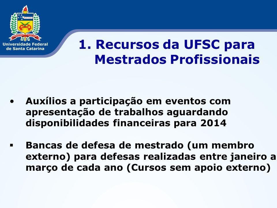 APCNs Mestrado e Doutorado de 2013 Apreciação pelo CTC/CAPES em agosto e setembro/2013 Reunião para elaboração de novas propostas da UFSC para o ano de 2014 (Outubro/2013) 8.