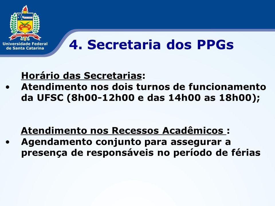 Horário das Secretarias: Atendimento nos dois turnos de funcionamento da UFSC (8h00-12h00 e das 14h00 as 18h00); Atendimento nos Recessos Acadêmicos :