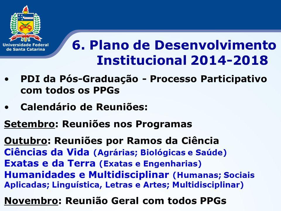PDI da Pós-Graduação - Processo Participativo com todos os PPGs Calendário de Reuniões: Setembro: Reuniões nos Programas Outubro: Reuniões por Ramos d