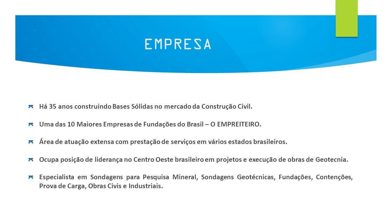 2 EMPRESA Há 35 anos construindo Bases Sólidas no mercado da Construção Civil. Uma das 10 Maiores Empresas de Fundações do Brasil – O EMPREITEIRO. Áre