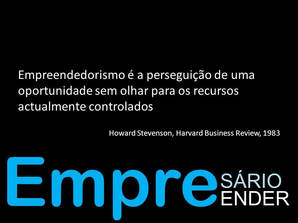 Empre SÁRIO ENDER Empreendedorismo é a perseguição de uma oportunidade sem olhar para os recursos actualmente controlados Howard Stevenson, Harvard Bu