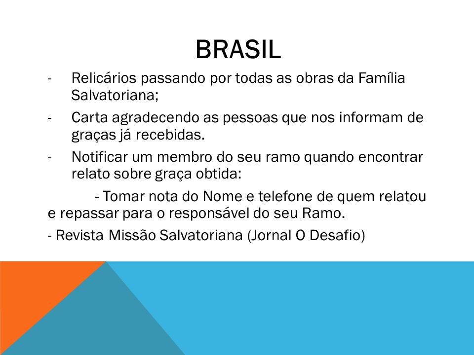 BRASIL -Relicários passando por todas as obras da Família Salvatoriana; -Carta agradecendo as pessoas que nos informam de graças já recebidas. -Notifi