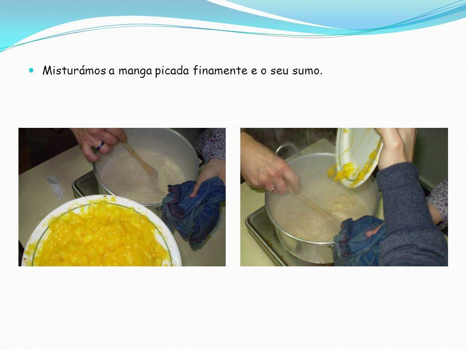 Passámos uma forma por água fria e enchemo-la com a mistura.