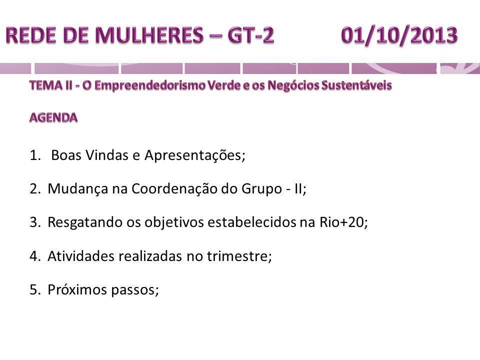 1. Boas Vindas e Apresentações; 2.Mudança na Coordenação do Grupo - II; 3.Resgatando os objetivos estabelecidos na Rio+20; 4.Atividades realizadas no