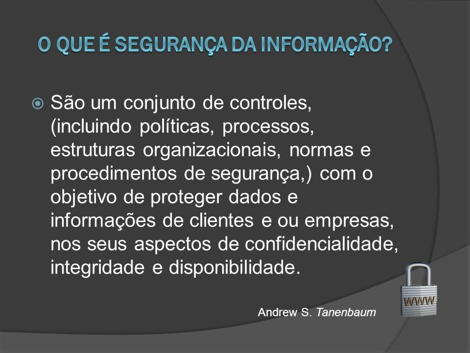 São um conjunto de controles, (incluindo políticas, processos, estruturas organizacionais, normas e procedimentos de segurança,) com o objetivo de proteger dados e informações de clientes e ou empresas, nos seus aspectos de confidencialidade, integridade e disponibilidade.