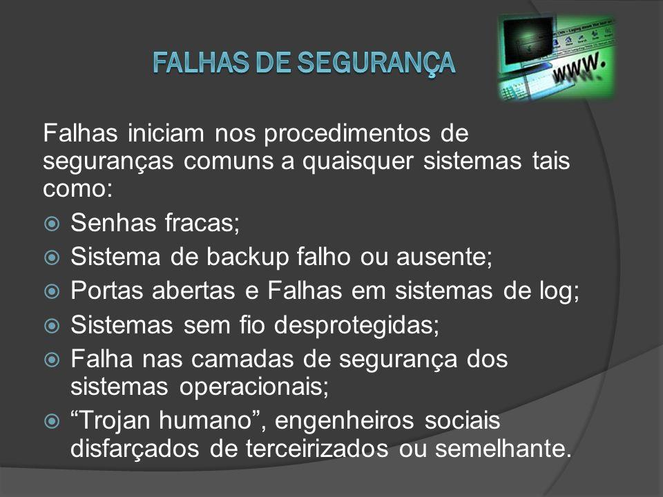 Falhas iniciam nos procedimentos de seguranças comuns a quaisquer sistemas tais como: Senhas fracas; Sistema de backup falho ou ausente; Portas aberta