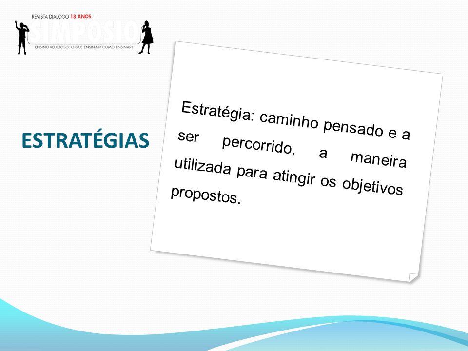 ESTRATÉGIAS Estratégia: caminho pensado e a ser percorrido, a maneira utilizada para atingir os objetivos propostos.
