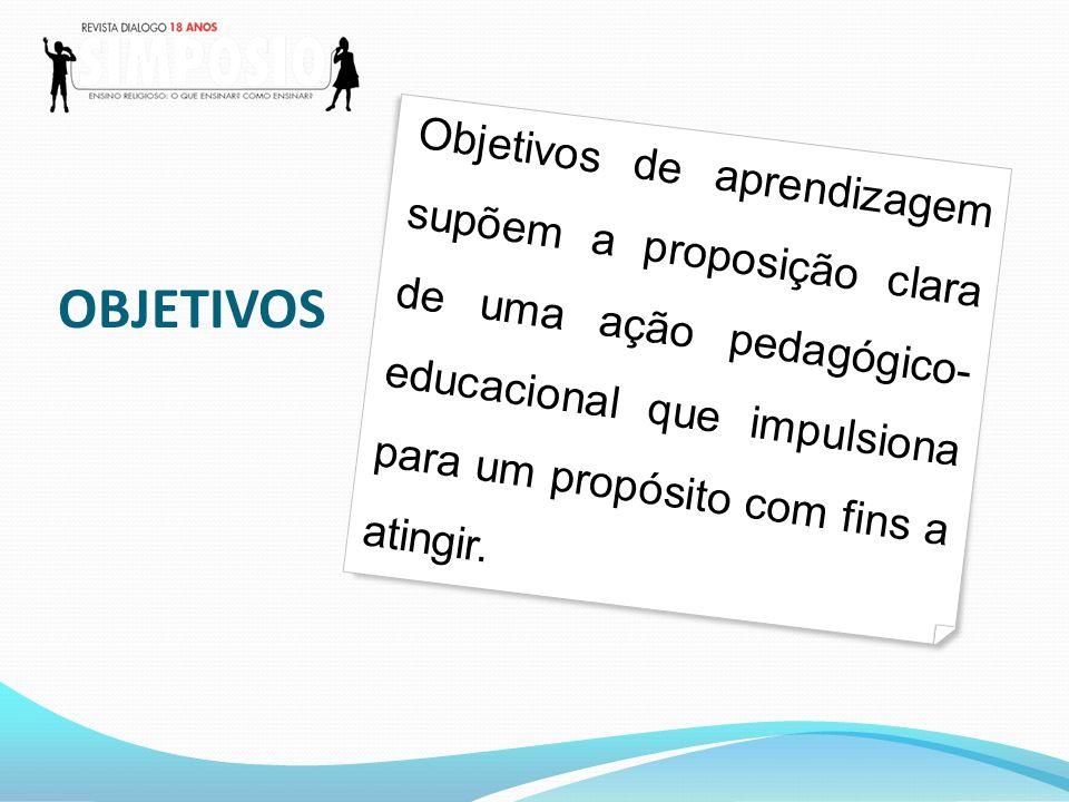 OBJETIVOS Objetivos de aprendizagem supõem a proposição clara de uma ação pedagógico- educacional que impulsiona para um propósito com fins a atingir.