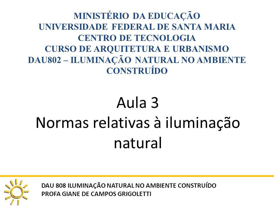 Aula 3 Normas relativas à iluminação natural MINISTÉRIO DA EDUCAÇÃO UNIVERSIDADE FEDERAL DE SANTA MARIA CENTRO DE TECNOLOGIA CURSO DE ARQUITETURA E URBANISMO DAU802 – ILUMINAÇÃO NATURAL NO AMBIENTE CONSTRUÍDO DAU 808 ILUMINAÇÃO NATURAL NO AMBIENTE CONSTRUÍDO PROFA GIANE DE CAMPOS GRIGOLETTI