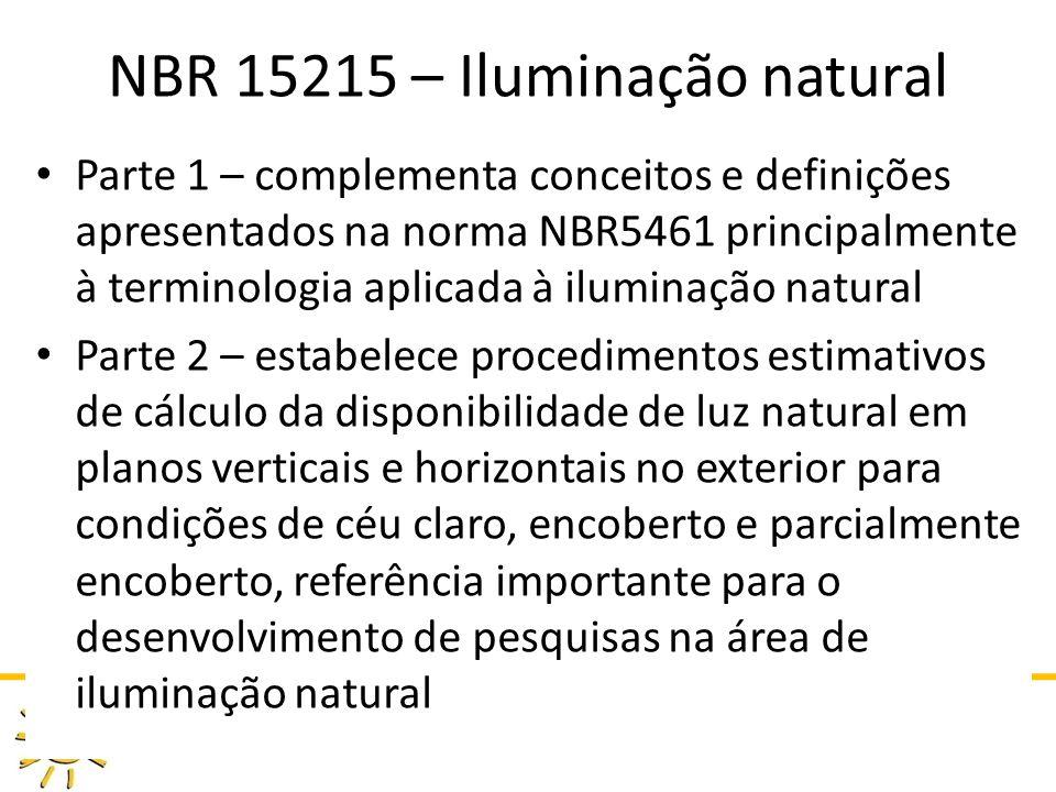 DAU 808 ILUMINAÇÃO NATURAL NO AMBIENTE CONSTRUÍDO PROFA GIANE DE CAMPOS GRIGOLETTI NBR 15215 – Iluminação natural Parte 1 – complementa conceitos e definições apresentados na norma NBR5461 principalmente à terminologia aplicada à iluminação natural Parte 2 – estabelece procedimentos estimativos de cálculo da disponibilidade de luz natural em planos verticais e horizontais no exterior para condições de céu claro, encoberto e parcialmente encoberto, referência importante para o desenvolvimento de pesquisas na área de iluminação natural