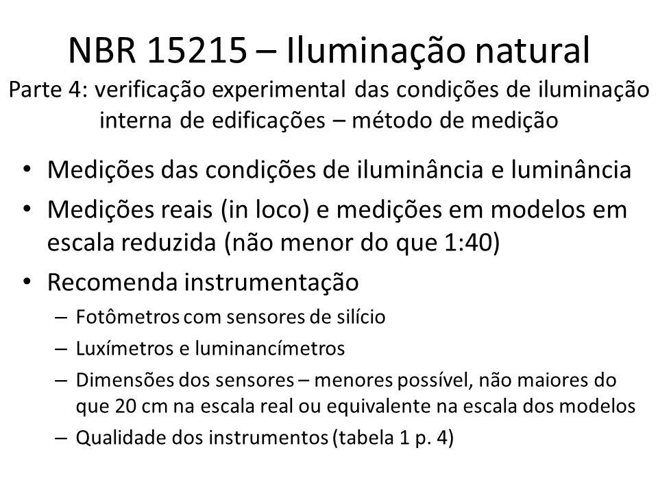 NBR 15215 – Iluminação natural Parte 4: verificação experimental das condições de iluminação interna de edificações – método de medição Medições das condições de iluminância e luminância Medições reais (in loco) e medições em modelos em escala reduzida (não menor do que 1:40) Recomenda instrumentação – Fotômetros com sensores de silício – Luxímetros e luminancímetros – Dimensões dos sensores – menores possível, não maiores do que 20 cm na escala real ou equivalente na escala dos modelos – Qualidade dos instrumentos (tabela 1 p.