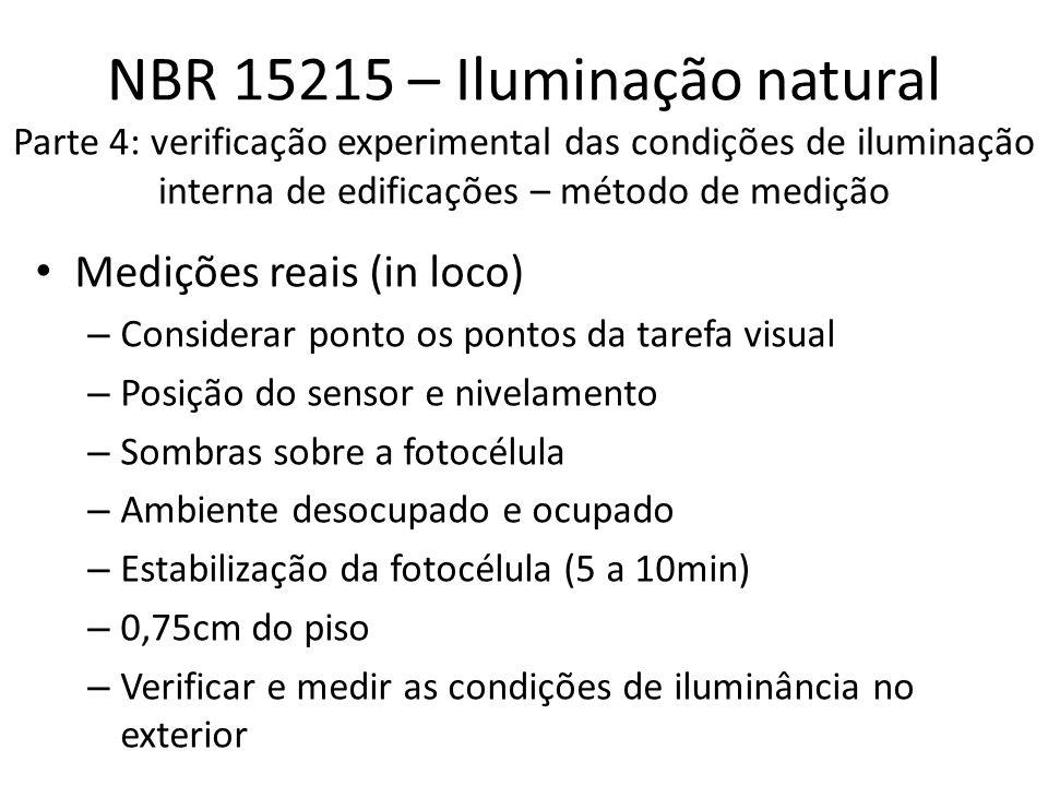 NBR 15215 – Iluminação natural Parte 4: verificação experimental das condições de iluminação interna de edificações – método de medição Medições reais (in loco) – Considerar ponto os pontos da tarefa visual – Posição do sensor e nivelamento – Sombras sobre a fotocélula – Ambiente desocupado e ocupado – Estabilização da fotocélula (5 a 10min) – 0,75cm do piso – Verificar e medir as condições de iluminância no exterior