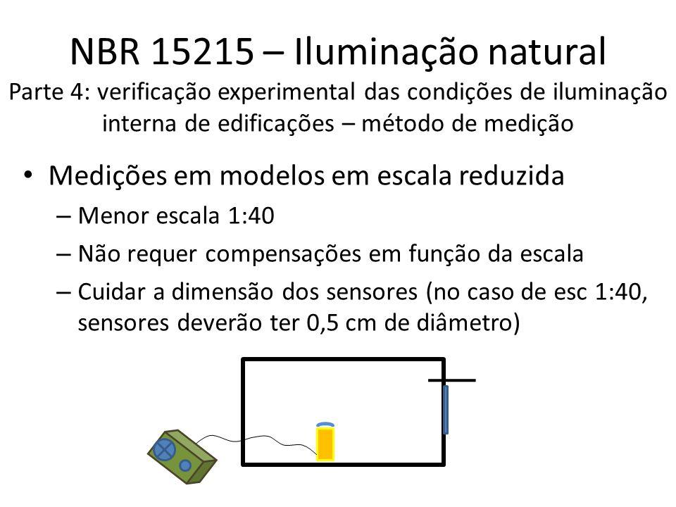 NBR 15215 – Iluminação natural Parte 4: verificação experimental das condições de iluminação interna de edificações – método de medição Medições em modelos em escala reduzida – Menor escala 1:40 – Não requer compensações em função da escala – Cuidar a dimensão dos sensores (no caso de esc 1:40, sensores deverão ter 0,5 cm de diâmetro)