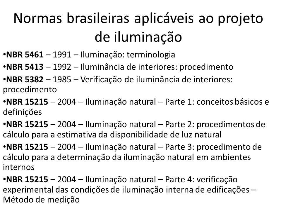 Normas brasileiras aplicáveis ao projeto de iluminação NBR 5461 – 1991 – Iluminação: terminologia NBR 5413 – 1992 – Iluminância de interiores: procedimento NBR 5382 – 1985 – Verificação de iluminância de interiores: procedimento NBR 15215 – 2004 – Iluminação natural – Parte 1: conceitos básicos e definições NBR 15215 – 2004 – Iluminação natural – Parte 2: procedimentos de cálculo para a estimativa da disponibilidade de luz natural NBR 15215 – 2004 – Iluminação natural – Parte 3: procedimento de cálculo para a determinação da iluminação natural em ambientes internos NBR 15215 – 2004 – Iluminação natural – Parte 4: verificação experimental das condições de iluminação interna de edificações – Método de medição