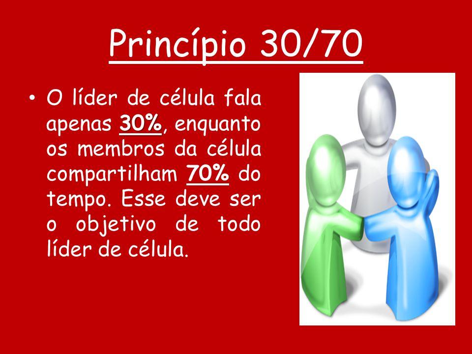 Princípio 30/70 30% O líder de célula fala apenas 30%, enquanto os membros da célula compartilham 70% do tempo. Esse deve ser o objetivo de todo líder