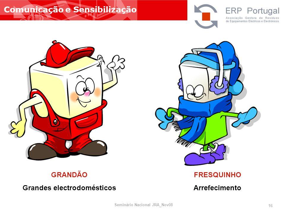 Comunicação e Sensibilização GRANDÃO Grandes electrodomésticos FRESQUINHO Arrefecimento Seminário Nacional JRA_Nov08 16