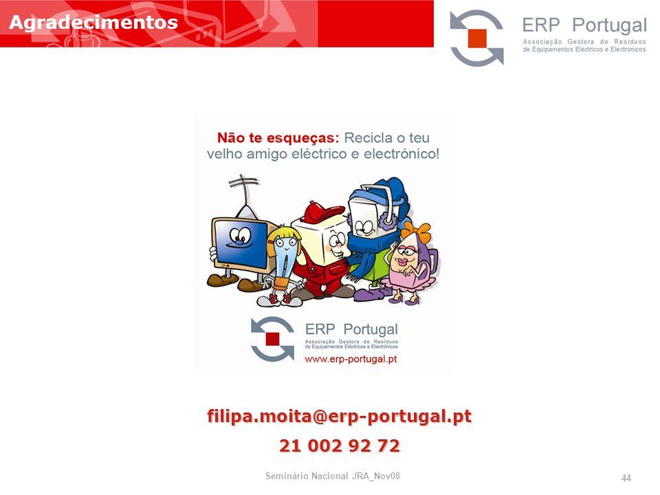 filipa.moita@erp-portugal.pt 21 002 92 72 Agradecimentos 44 Seminário Nacional JRA_Nov08