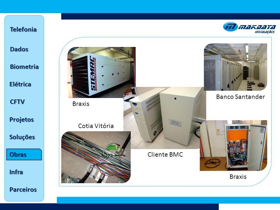 Dados Telefonia Biometria Elétrica CFTV Projetos Soluções Obras Infra Parceiros Braxis Cliente BMC Banco Santander Cotia Vitória Braxis
