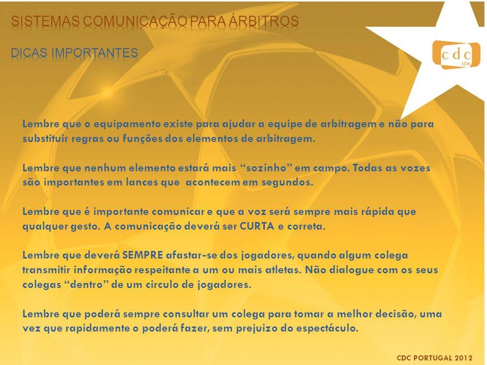 CDC PORTUGAL 2012 Lembre que o equipamento existe para ajudar a equipe de arbitragem e não para substituir regras ou funções dos elementos de arbitrag