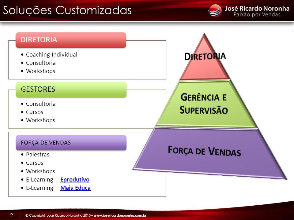 | © Copyright José Ricardo Noronha 2013 – www.josericardonoronha.com.br 9 Coaching Individual Consultoria Workshops DIRETORIA Consultoria Cursos Works