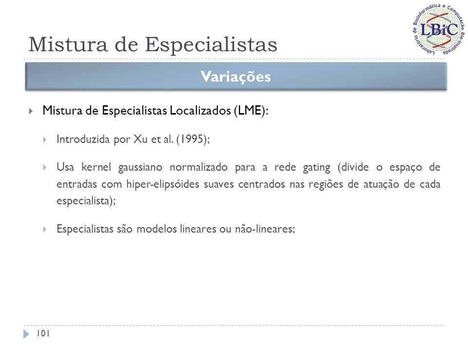 Mistura de Especialistas Propostas de treinamento 102 Função-objetivo Aplicando o algoritmo de maximização da esperança Logo