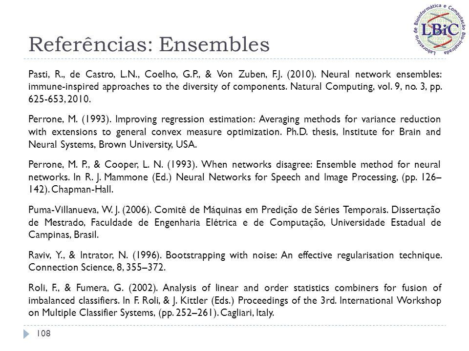 Referências: Ensembles Rosen, B.E. (1996). Ensemble learning using decorrelated neural networks.