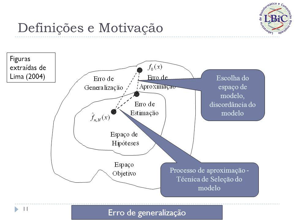 Definições e Motivação Três formas de se reduzir o erro de generalização 12 Estatística Computacional Representacional Figuras extraídas de Lima (2004)
