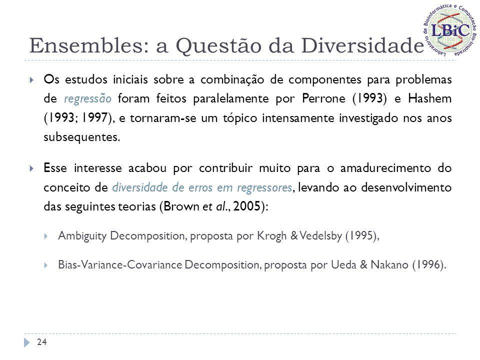 Ensembles: a Questão da Diversidade De modo geral, estas teorias mostram que o erro quadrático médio de um ensemble é criticamente dependente da correlação entre os erros de cada componente; Decomposição Bias-Variância de estimadores individuais: Propõe que o erro de generalização de um estimador pode ser dividido em dois componentes: bias e variância; Bias: pode ser definido como uma medida do quão perto um dado estimador está do seu alvo (em média, tomada em diferentes conjuntos de treinamento); Variância: é uma medida do quão estável uma dada solução é.