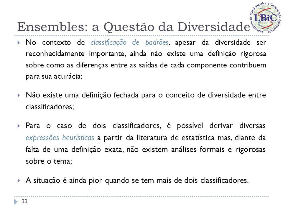 Ensembles: a Questão da Diversidade Tais expressões heurísticas podem ser divididas em duas categorias (Kuncheva & Whitaker, 2003): Aquelas que consistem em tomar a média de uma dada métrica de distância entre todos os classificadores do ensemble (medidas do tipo par-a-par): Estatística Q; Coeficiente de Correlação ( ρ ); Métrica de não-concordância (disagreement metric); Medida de dupla-falta; etc...