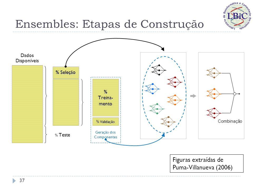 Ensembles: Etapas de Construção % Teste Dados Disponíveis % Treina- mento % Validação Geração dos Componentes % Seleção Combinação Geração de componentes: principal etapa em que atuam os métodos de introdução de diversidade.