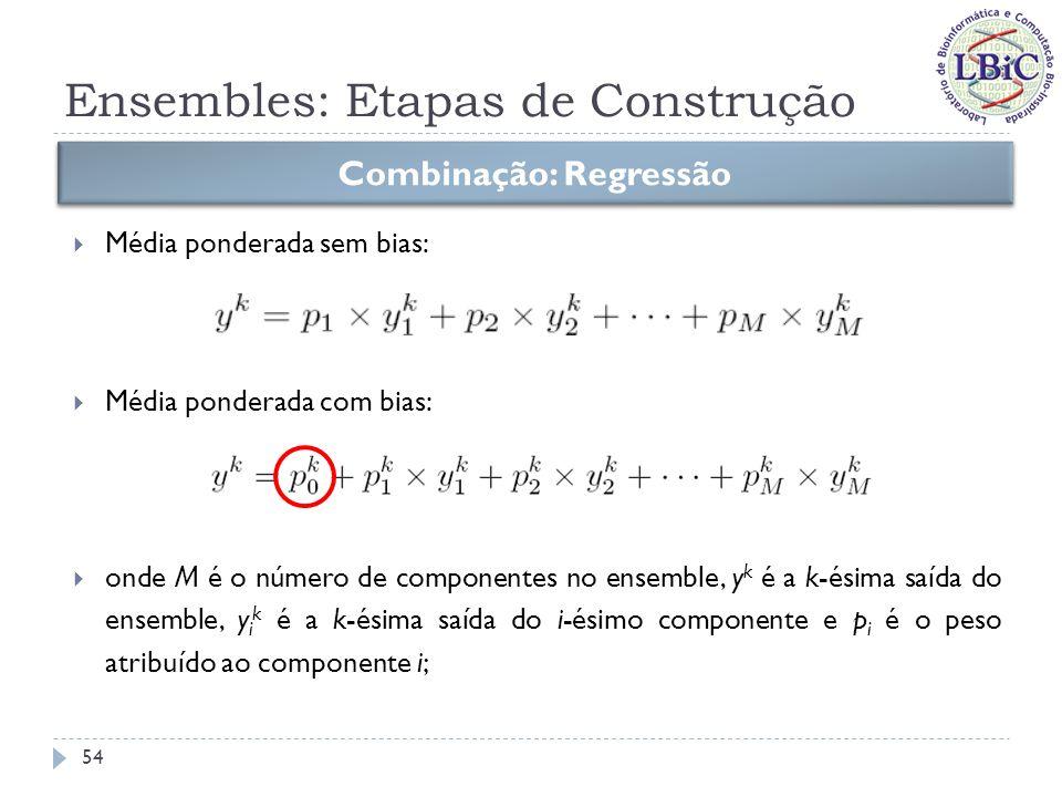 Ensembles: Etapas de Construção Combinação: Regressão Para obter os pesos p i, basta resolver o seguinte problema: sujeito a e Esta restrição geralmente é adotada para evitar inversões das saídas dos componentes (pesos negativos).