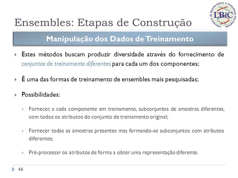 Ensembles: Etapas de Construção Manipulação dos Dados de Treinamento Métodos de reamostragem Métodos de distorção 67
