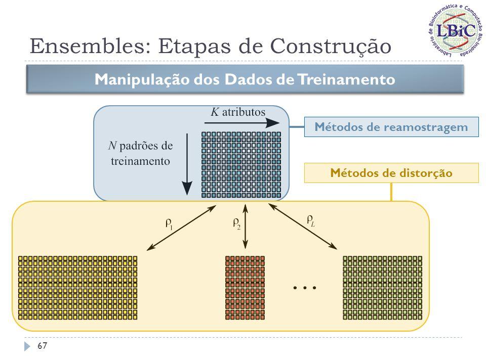 Ensembles: Etapas de Construção Métodos de reamostragem: Krogh & Vedelsby (1995) Se baseia no k-fold cross-validation; Para um ensemble com k componentes, divide aleatoriamente o conjunto de dados em k subconjuntos disjuntos; Gera-se o conjunto de treinamento para cada membro do ensemble através da união de k 1 subconjuntos, sendo que para cada membro do ensemble um subconjunto distinto é deixado de fora.